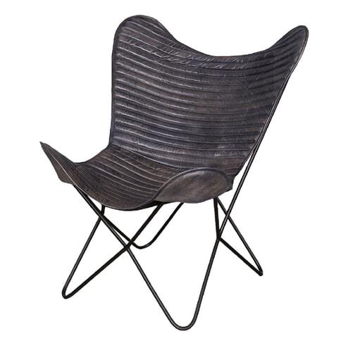 Braxton Vlinderstoel 'Empire' Vintage leder, kleur grijs