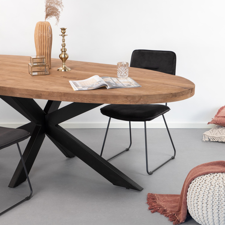 Sohome Ovale Eettafel 'Yannick' Mango met staal, 180 x 90cm