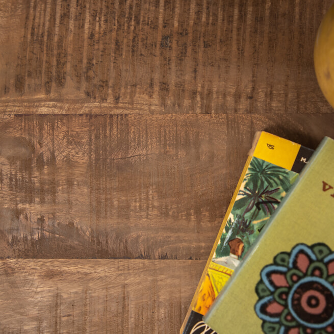 Brix Ronde Salontafel 'Mark' Mango / Staal, kleur zwart