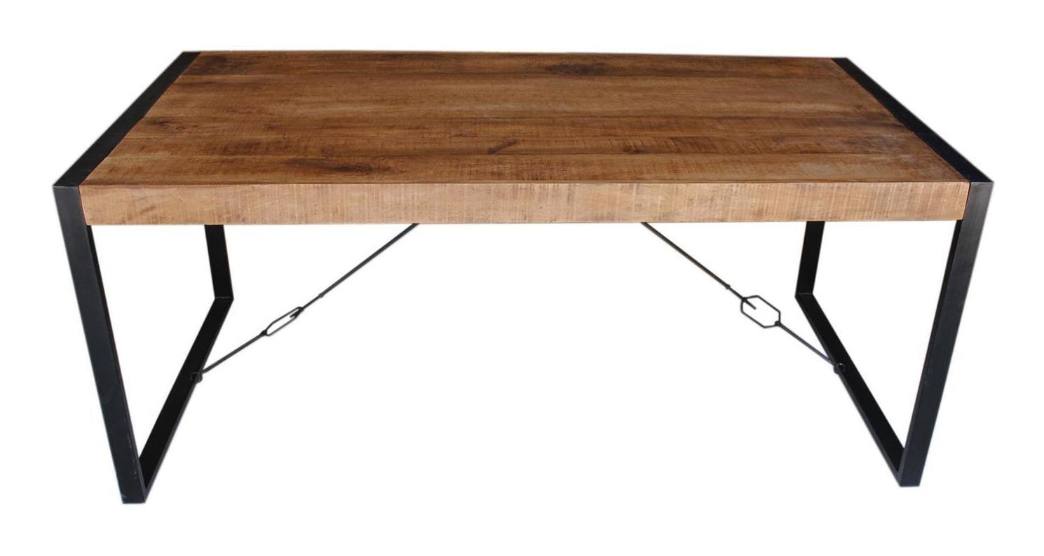 LivingFurn Industriële Eettafel 'Strong' 140 x 80cm, Mangohout en staal