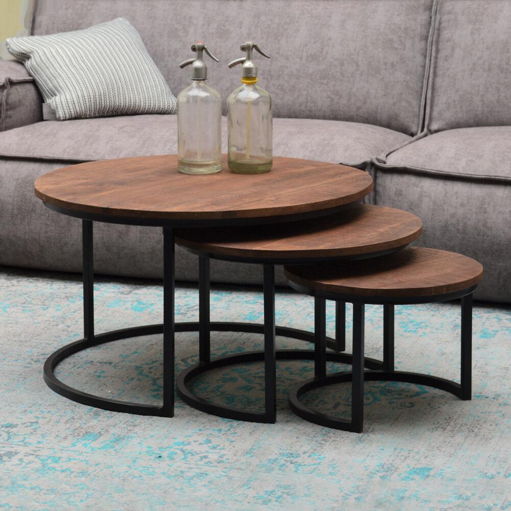 Brix Salontafel 'Colin' set van 3 stuks, kleur zwart Tafels | Salontafels vergelijken doe je het voordeligst hier bij Meubelpartner