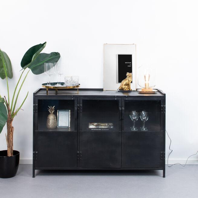 Sohome Industrieel Dressoir 'Noel' 130 cm, kleur zwart