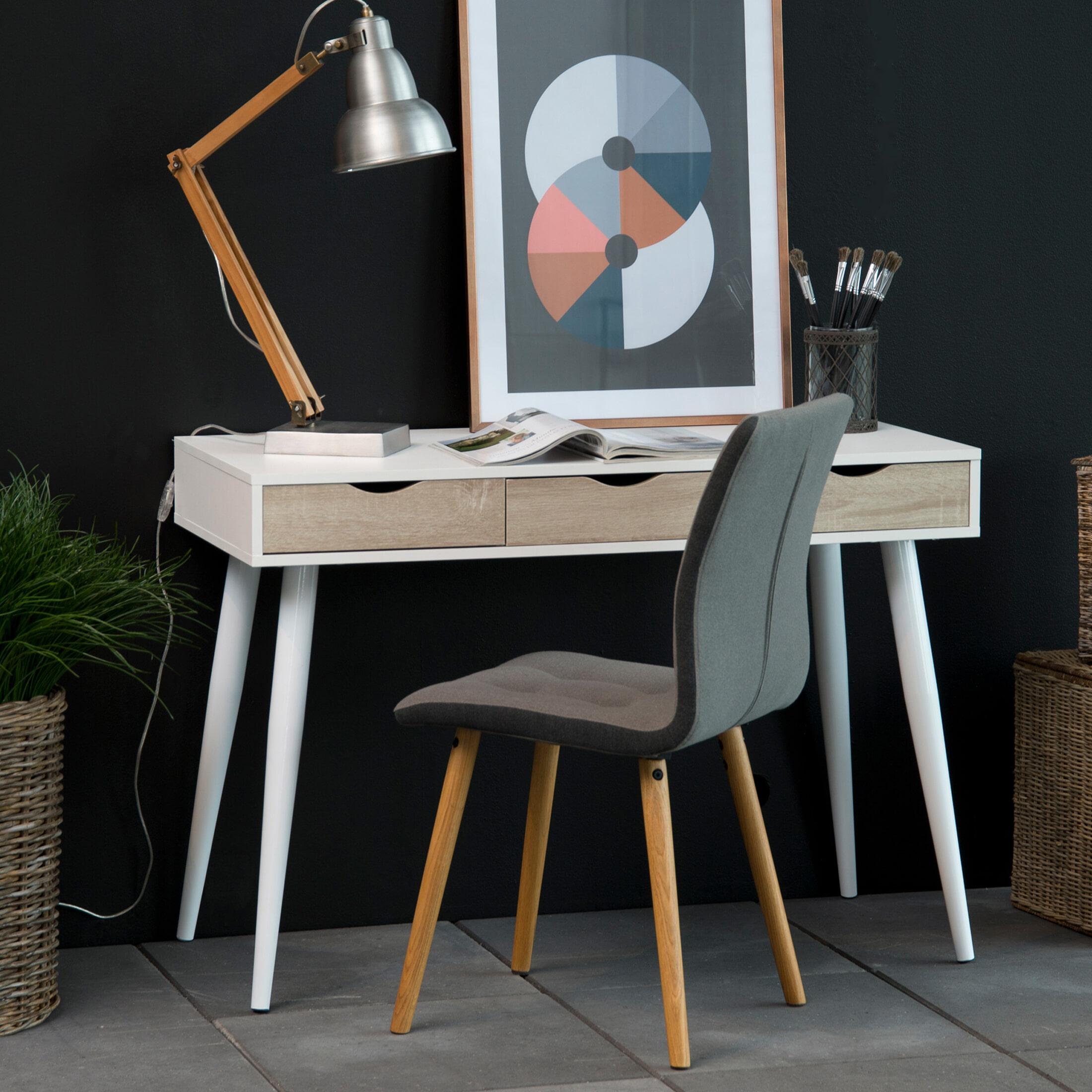 Bureau - sidetable 'Märta' 110 x 50cm met 3 laden , kleur wit - hout