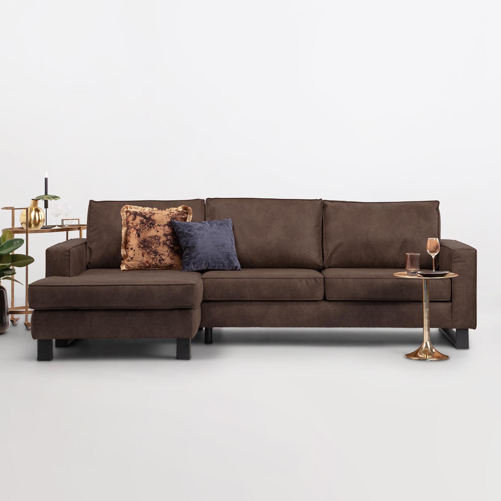 Sohome Loungebank 'Mathew' Links, Microleder, kleur bruin