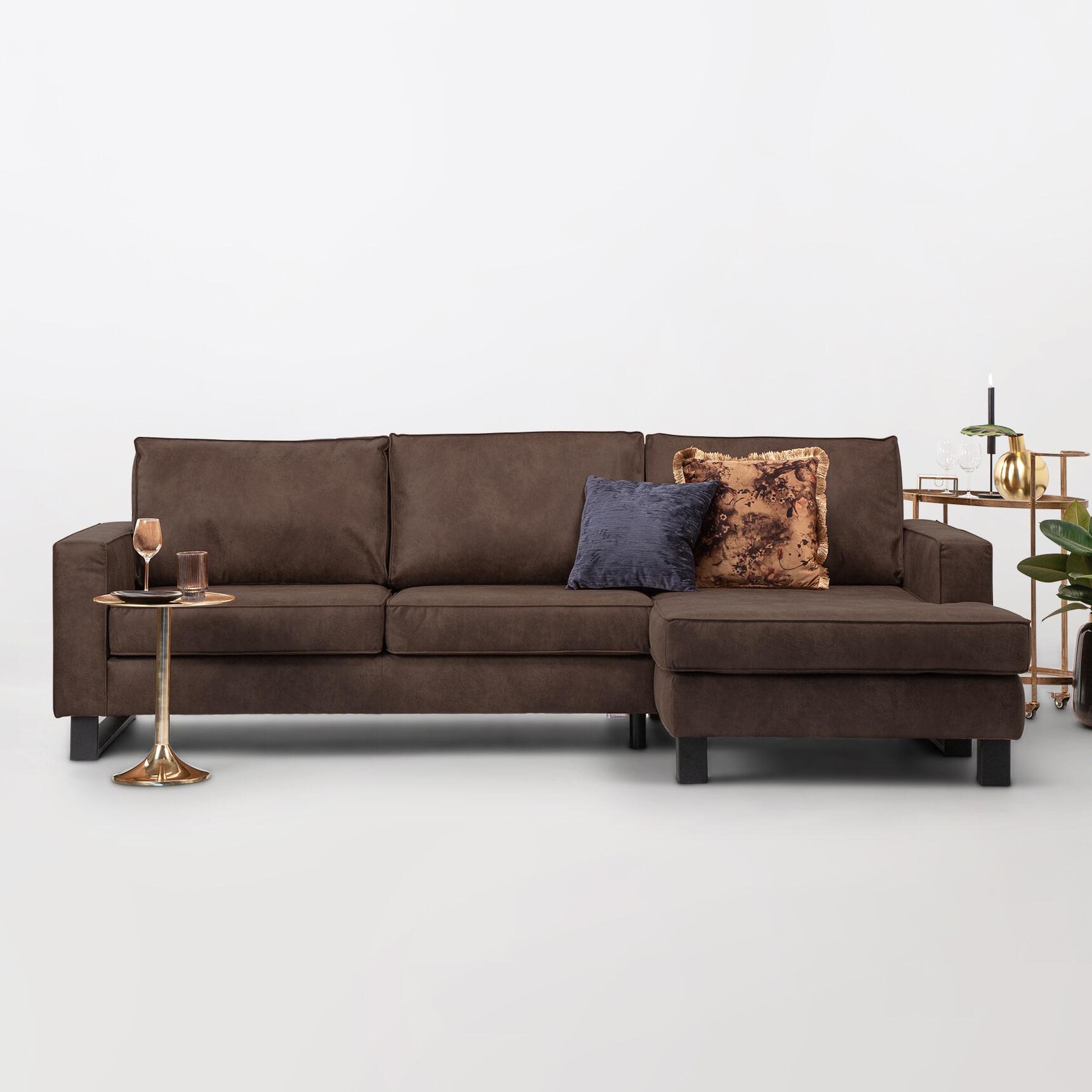 Sohome Loungebank 'Mathew' Rechts, Microleder, kleur bruin