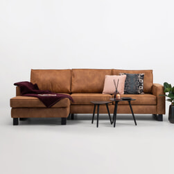 SoHome Loungebank 'Mathew' Links, Microleder, kleur cognac