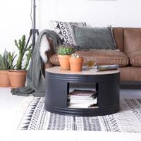 By-Boo Salontafel 'Barrel' 70cm, kleur zwart