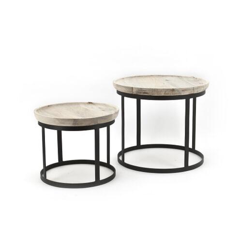 By-Boo set van 2 salontafels 'Wood/metal'