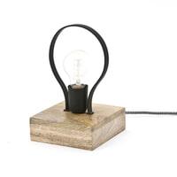 By-Boo Tafellampje 'Picard' met houten voet, kleur zwart