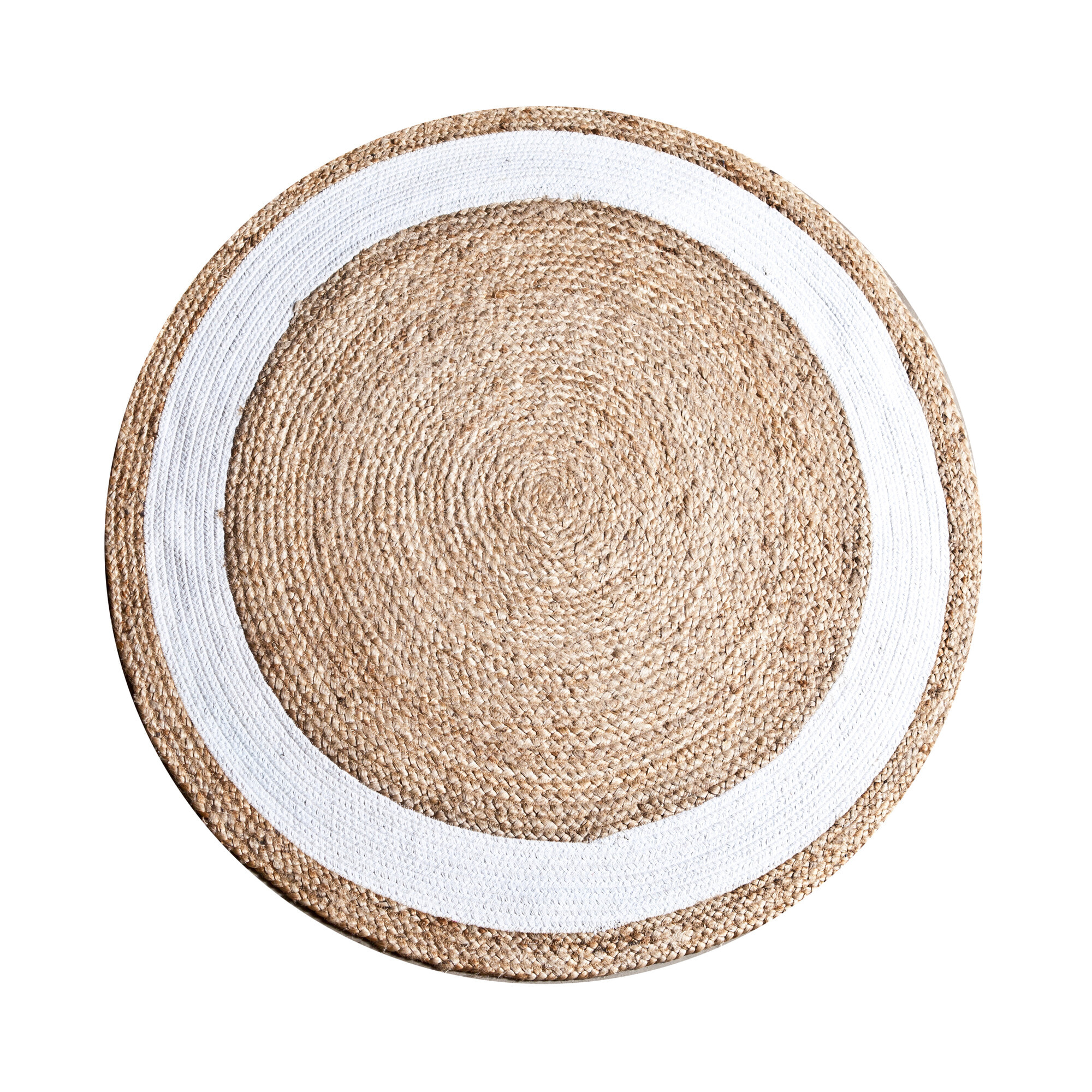 By-Boo Vloerkleed 'Jute Round' 120 cm, kleur wit Jute aanschaffen? Kijk hier!