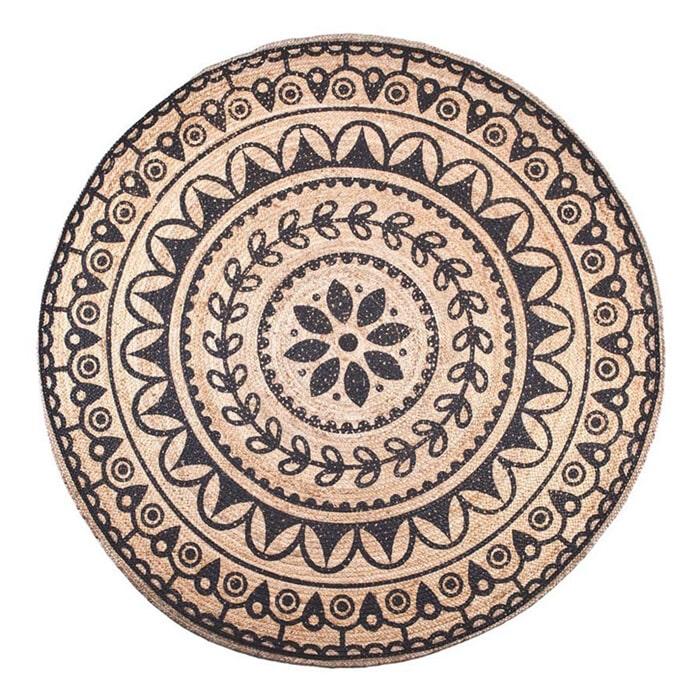 By-Boo vloerkleed 'Jute Round' 220cm, kleur jute/zwart  aanschaffen? Kijk hier!