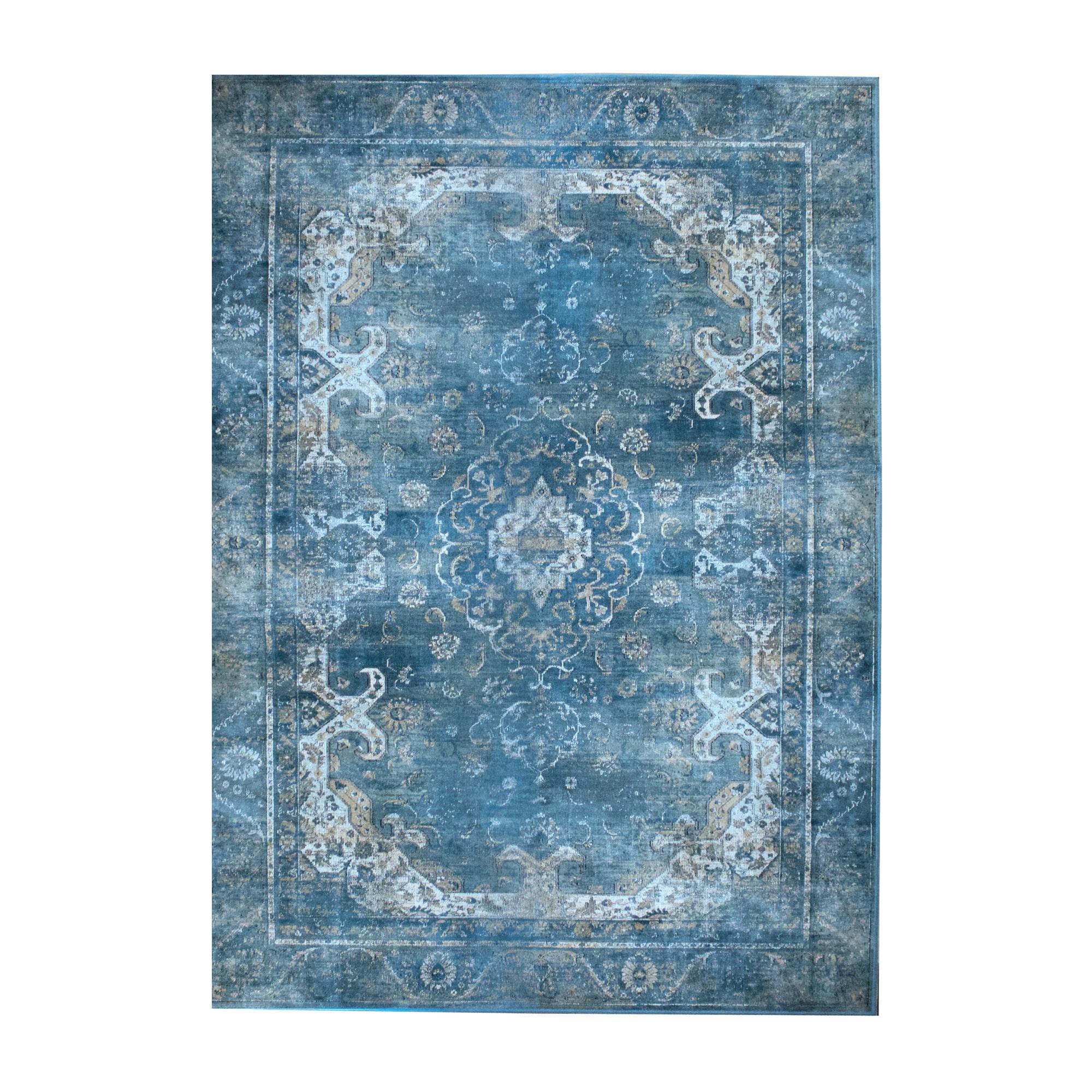 By-Boo Vloerkleed 'Liv' 200 x 290cm, kleur Turquoise Woonaccessoires | Vloerkleden