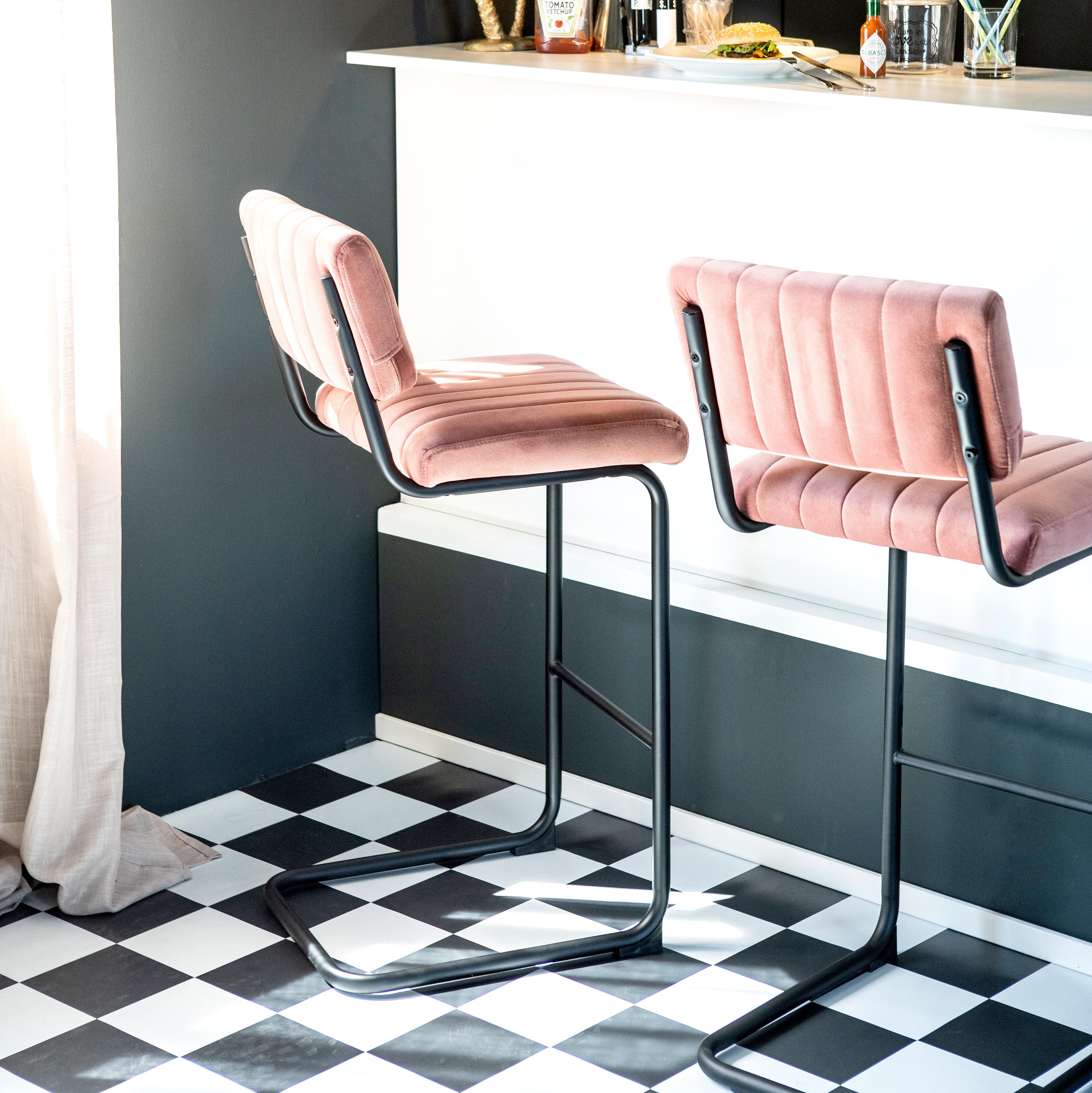 By-Boo Barstoel 'Operator' (zithoogte 68cm) Velvet, kleur Roze