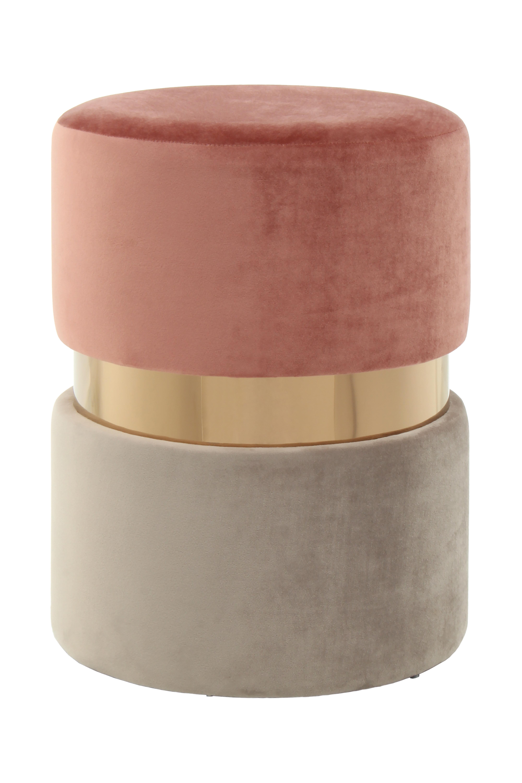 Kayoom Poef 'Zara' 35cm, kleur roze / taupe