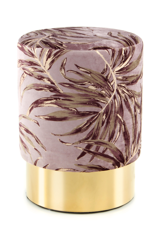 Kayoom Poef 'Amber' 35cm, kleur paars / goud