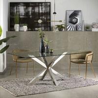 Kave Home Eettafel 'Argo' Chroom, 180 x 100