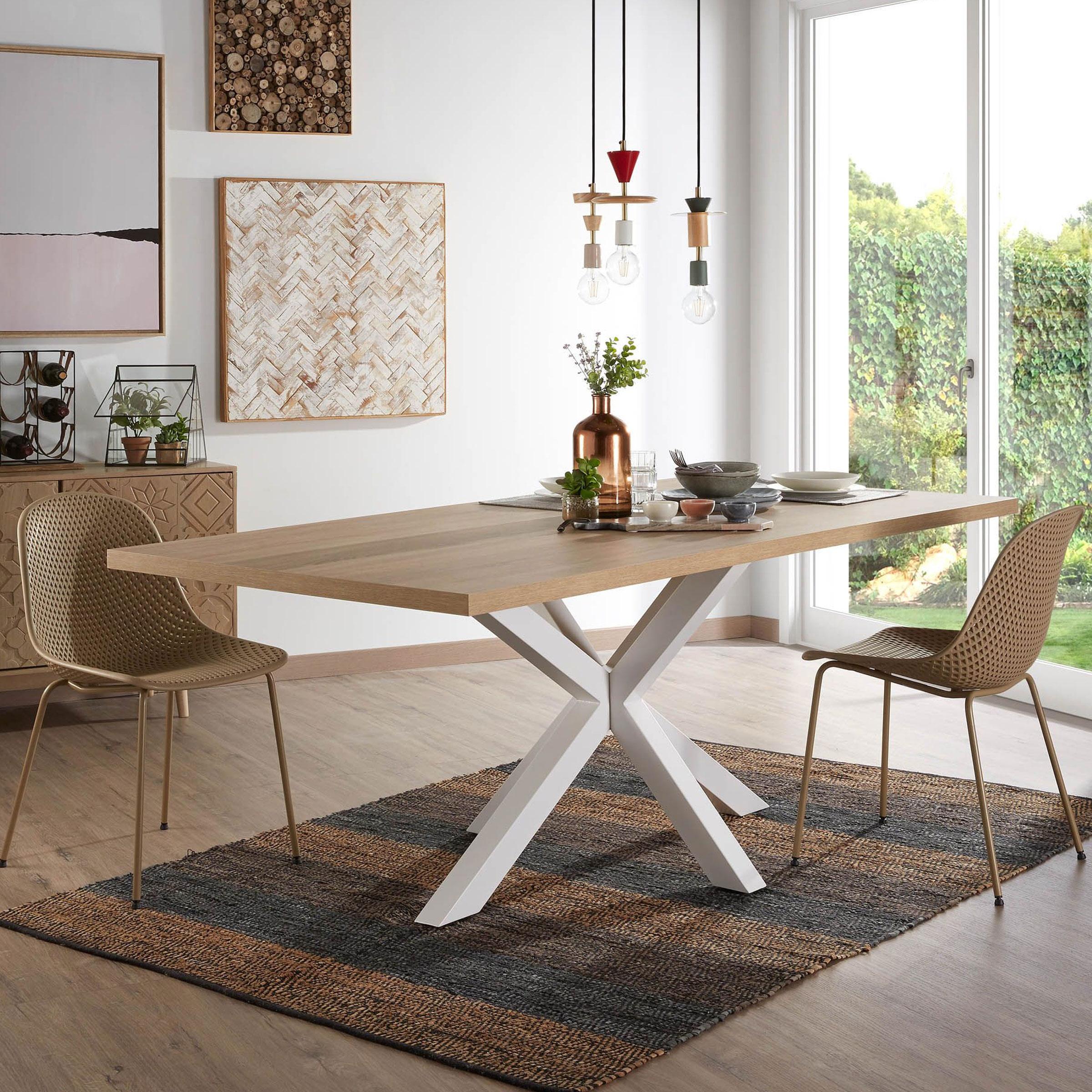 Kave Home Eettafel 'Argo' wit - hout, 180 x 100cm