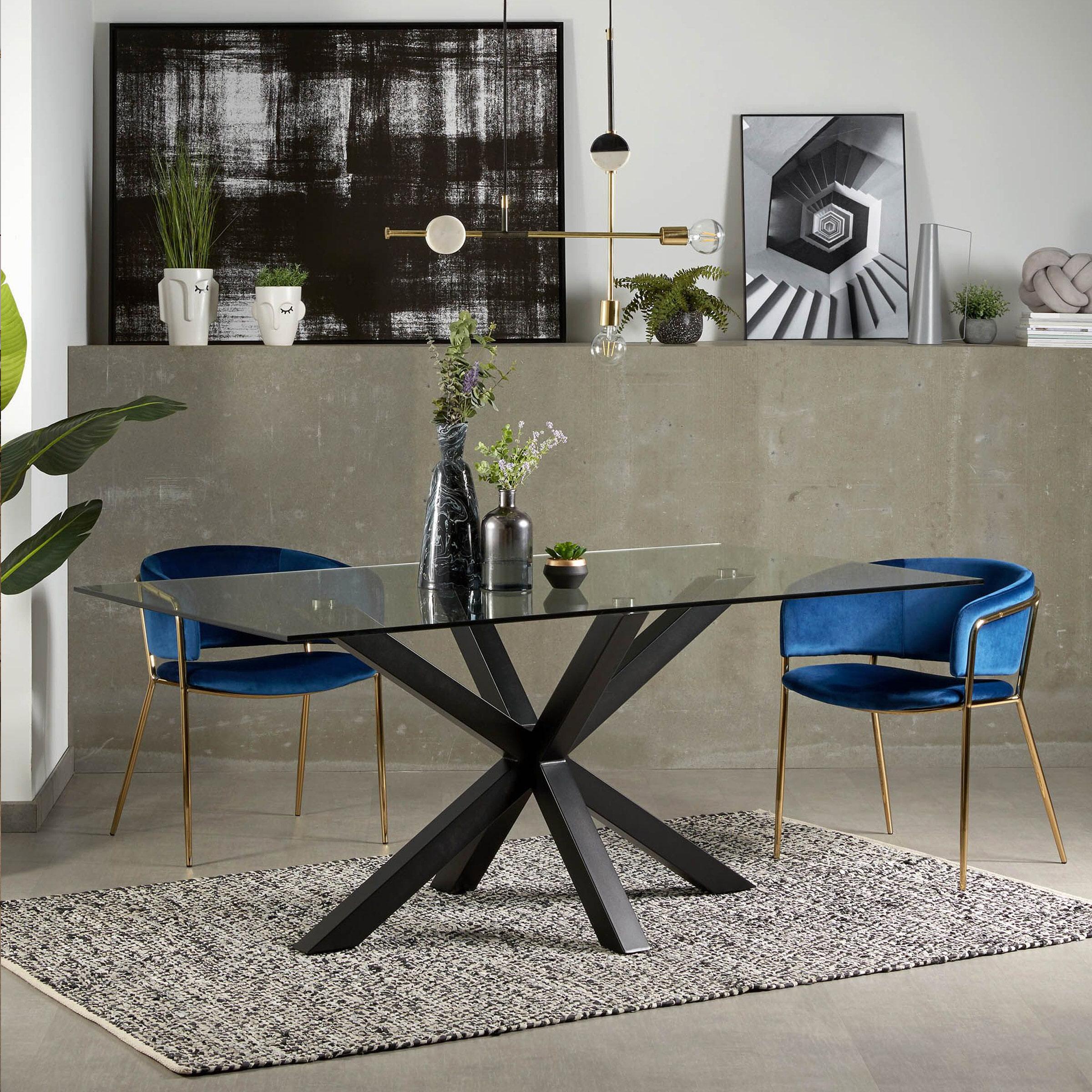 Kave Home Glazen eettafel 'Argo' met zwart onderstel, 200 x 100cm