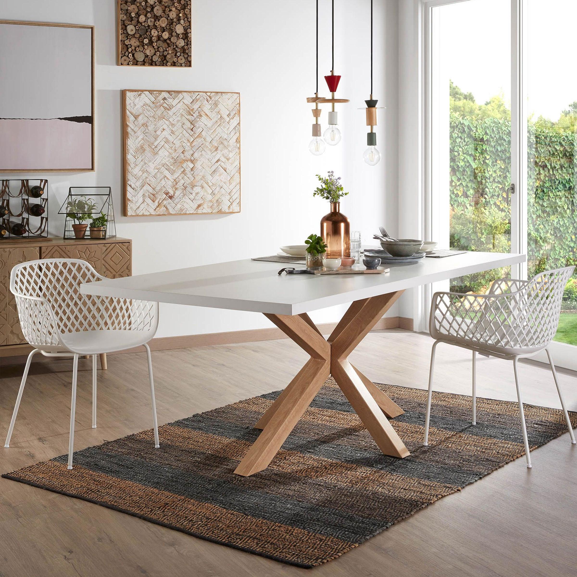 Kave Home Eettafel 'Argo' hout / wit, 180 x 100cm