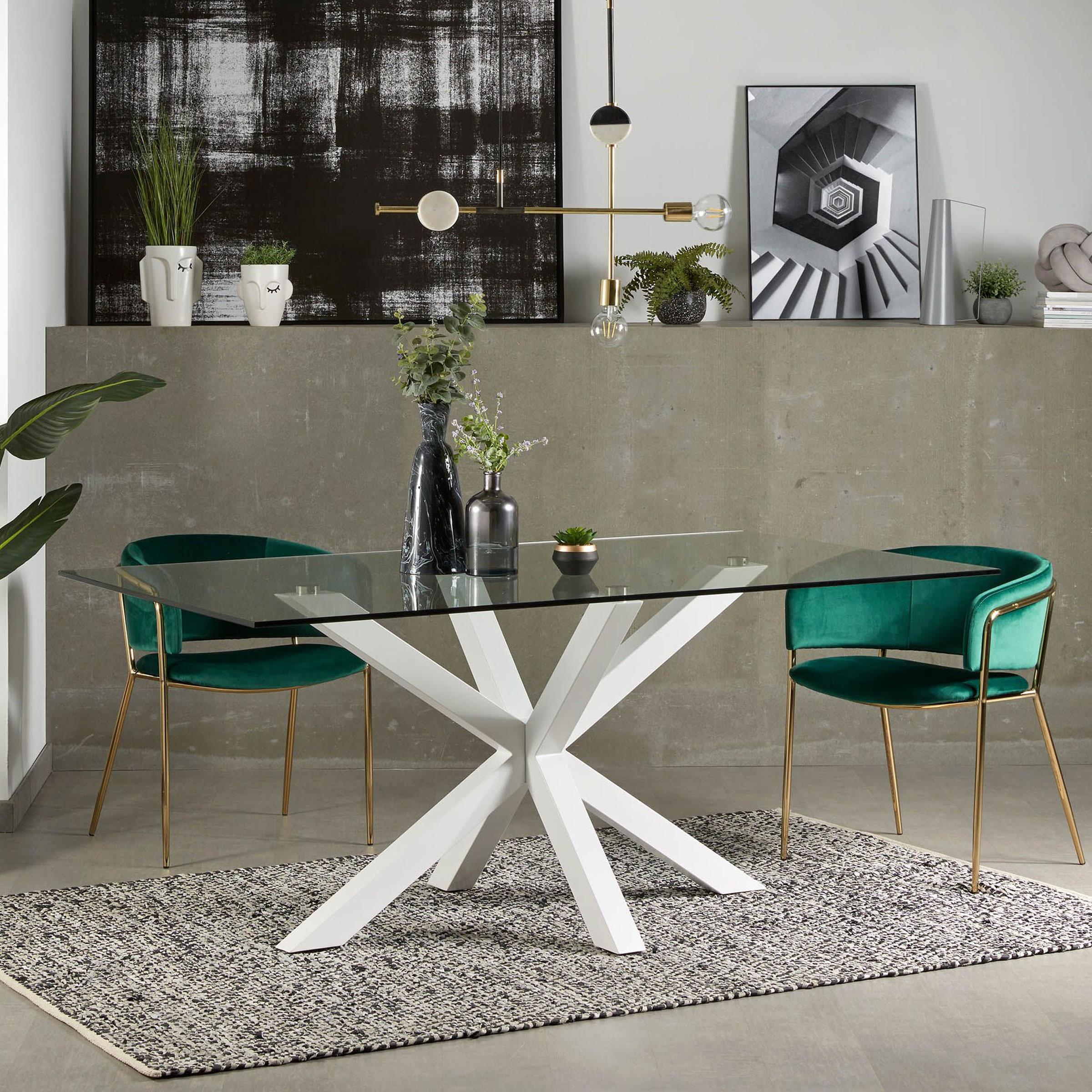 Kave Home glazen eettafel 'Argo' met wit onderstel, 160 x 90cm