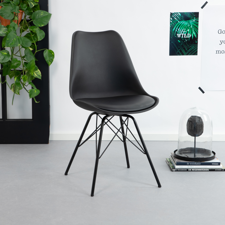 Kave Home Eetkamerstoel - Kuipstoel 'Ralf', kleur zwart