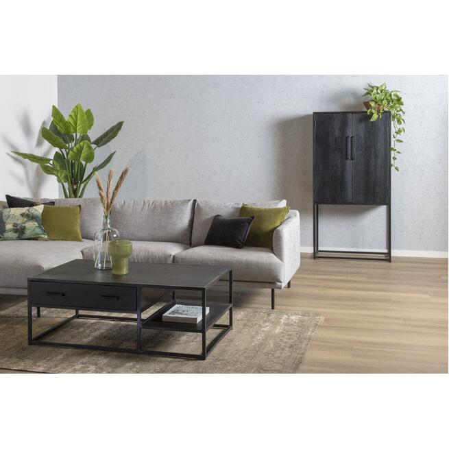 LivingFurn Salontafel 'Kala' Mangohout en staal, 120 x 70cm