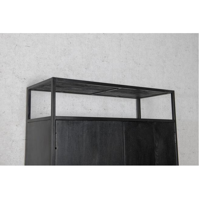 LivingFurn Opbergkast 'Kala' kleur Zwart, 210 x 100cm