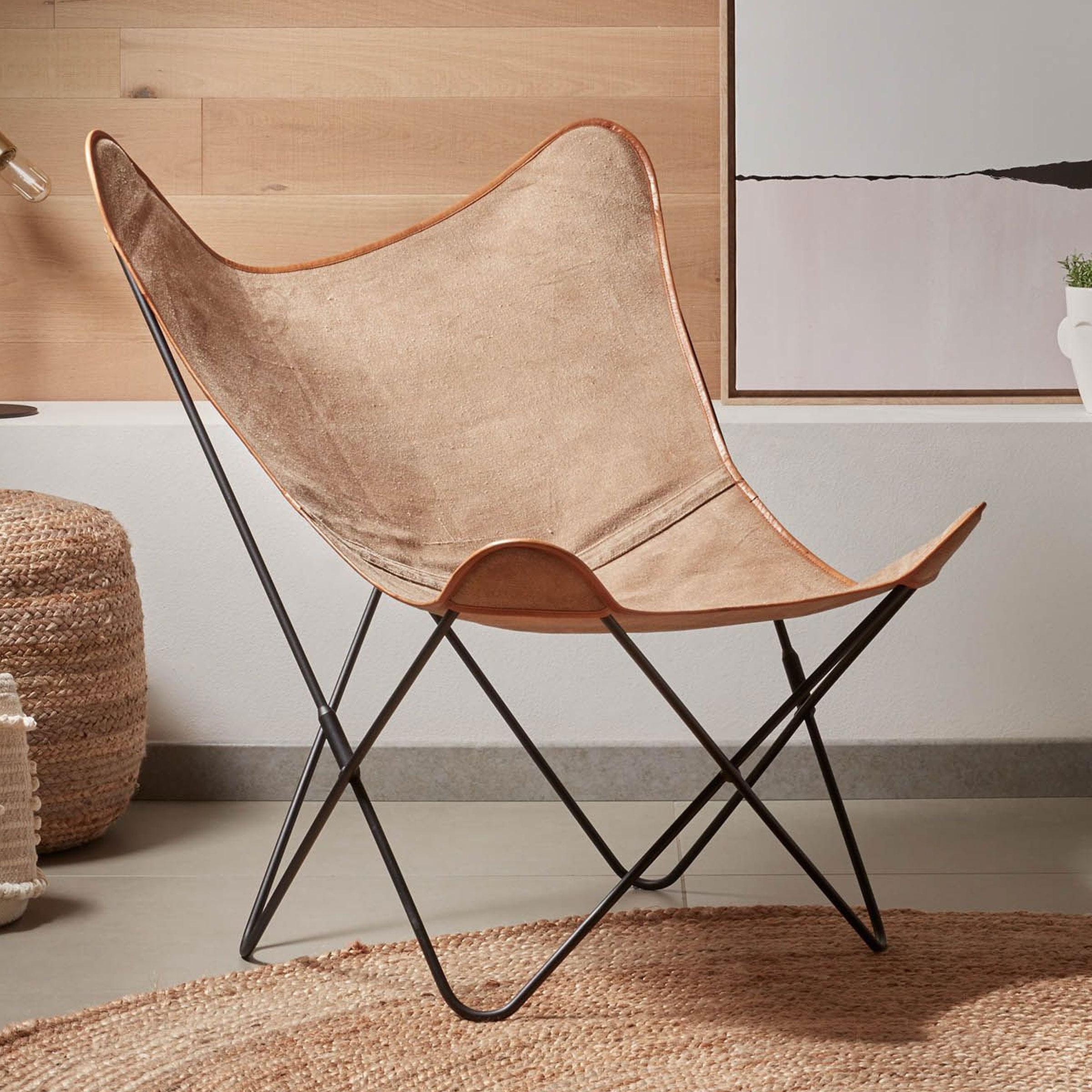 Kave Home Vlinderstoel 'Fly', kleur Beige