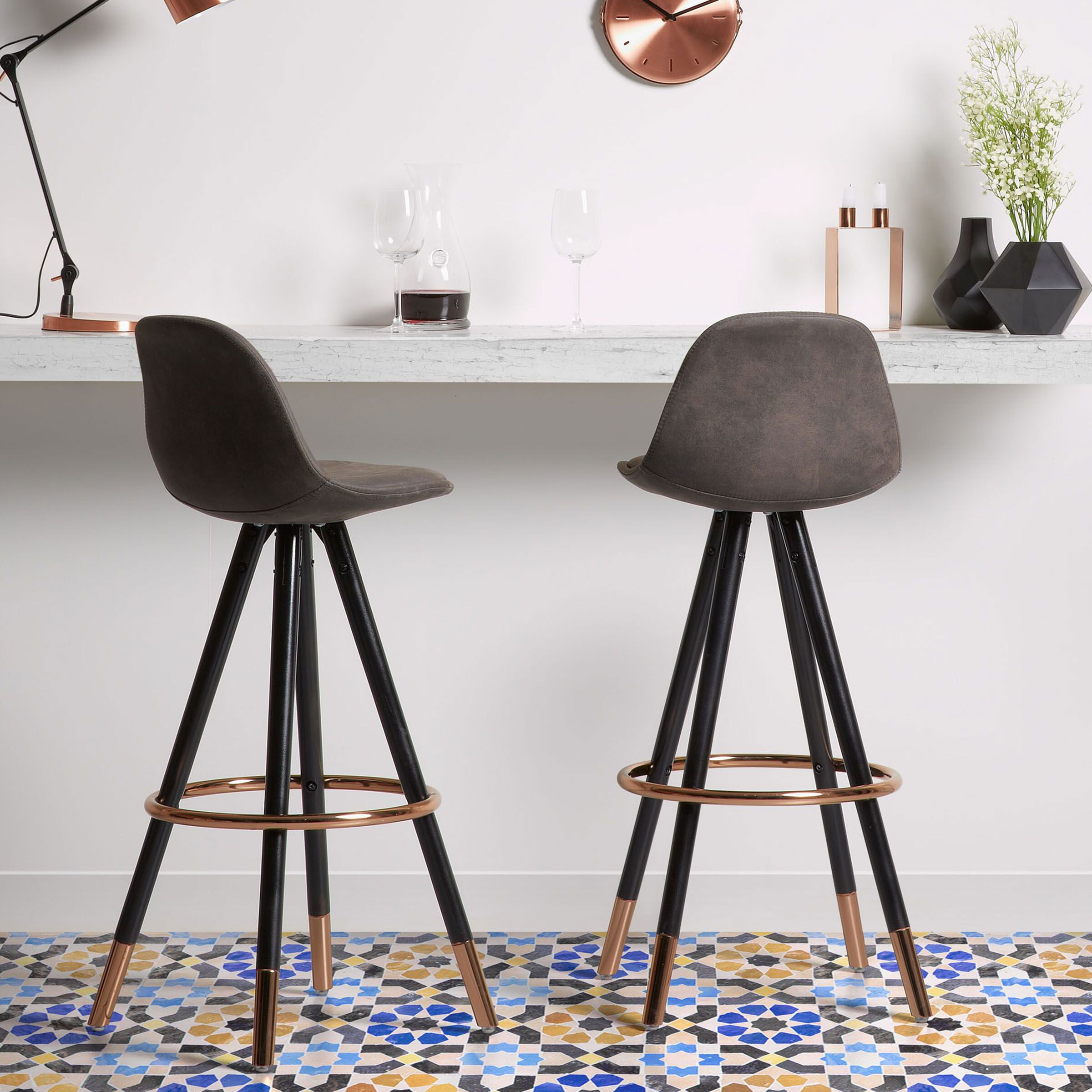 Kave Home barkruk 'Slad Copper' zithoogte 75cm, kleur grafiet