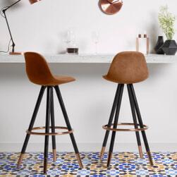 Kave Home barkruk 'Slad Copper' zithoogte 75cm