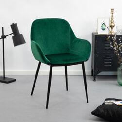 Kave Home Eetkamerstoel 'Konna' Velvet, kleur Groen