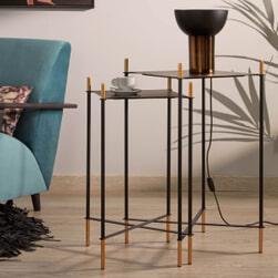 Kave Home Bijzettafel 'Dagnen' Set van 2 stuks, kleur Zwart