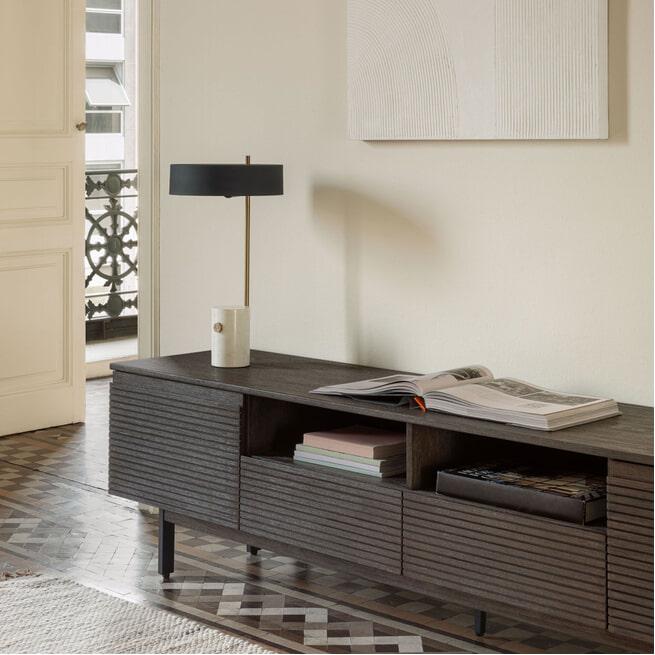 Kave Home Tv-meubel 'Indiann', 210cm, kleur Grijs