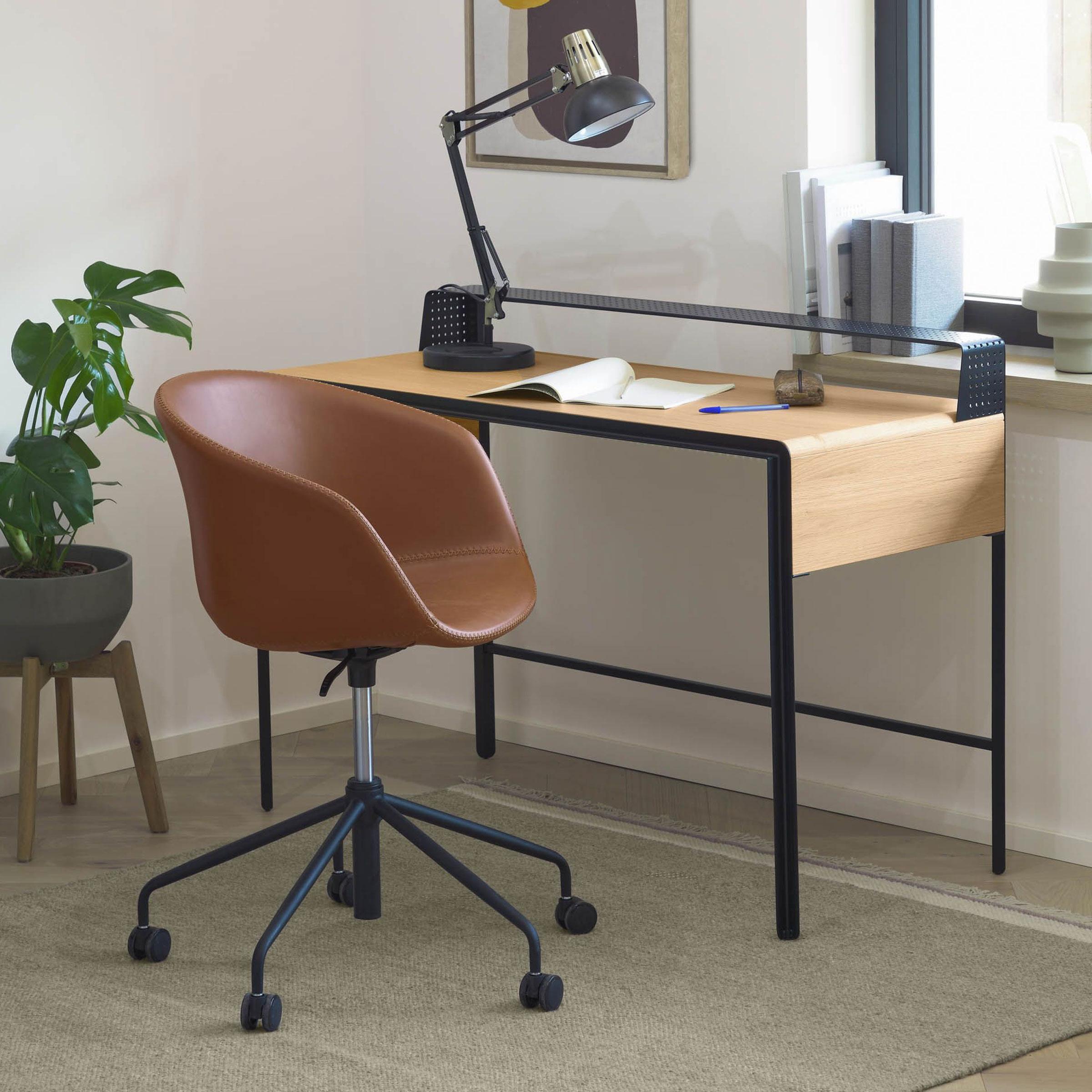 Kave Home Bureaustoel 'Yvette', Kunstleer, kleur Bruin