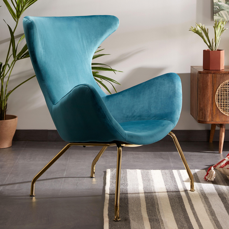 Kave Home Fauteuil 'Chleo' Velvet, kleur blauwgroen