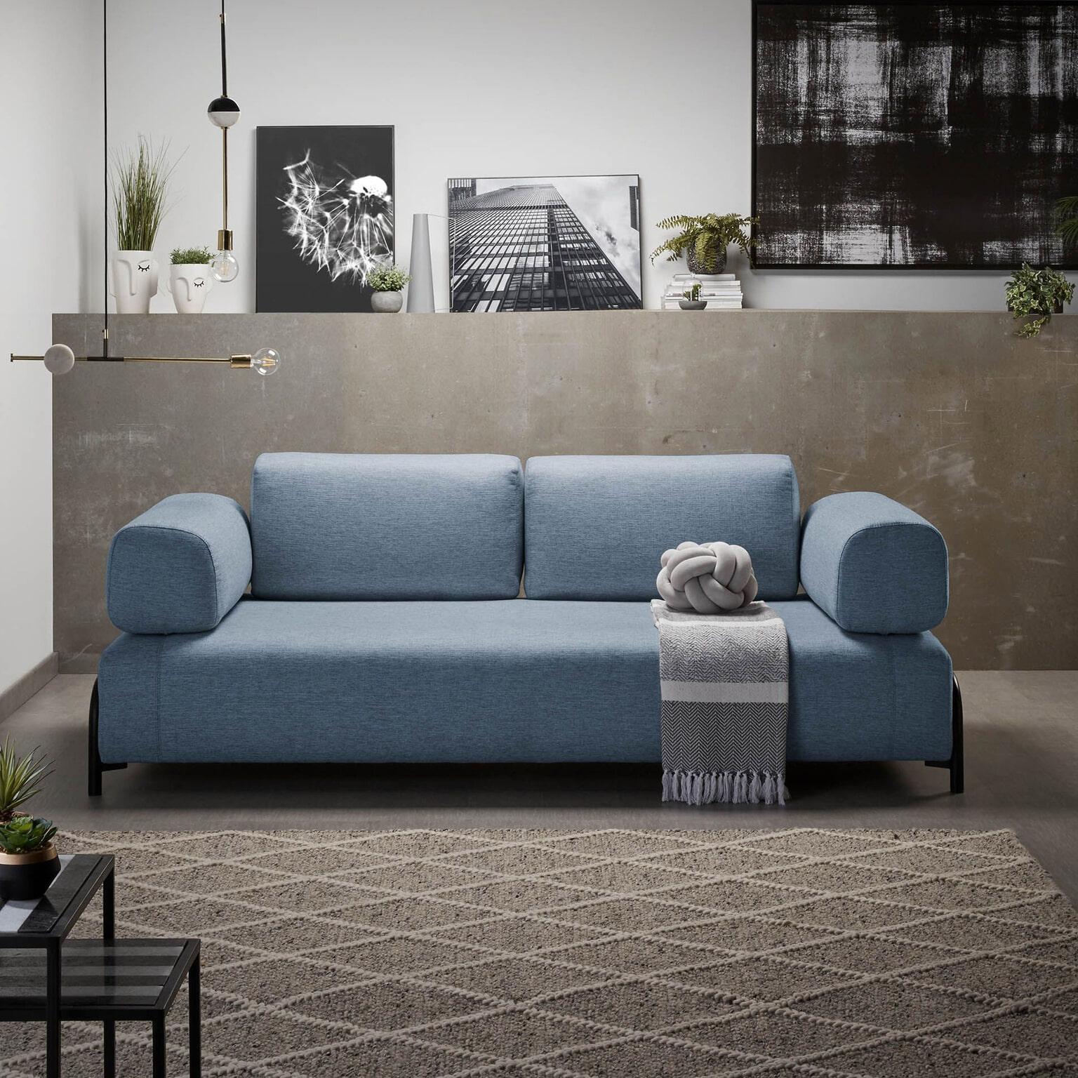 Blauwe Design Bank.Kave Home 3 Zits Bank Compo Kleur Blauw S589bb26 Meubelpartner