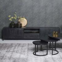 LivingFurn TV-meubel 'Kala' Mangohout en staal, 220cm