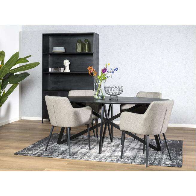 LivingFurn Ovale Eettafel 'Oslo' Acaciahout en staal, kleur Zwart, 200 x 100cm