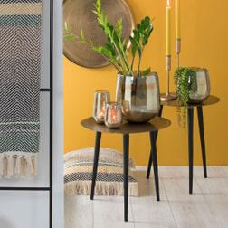 Light & Living Bijzettafel 'Daco', trunk antiek brons-mat zwart