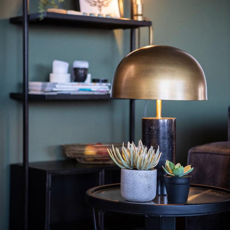 By-Boo Tafellamp 'David', kleur Zwart/Brass