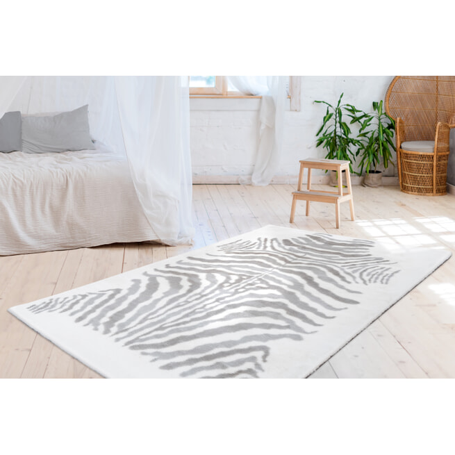 Kayoom Vloerkleed 'Rabbit Animal' kleur grijs / wit