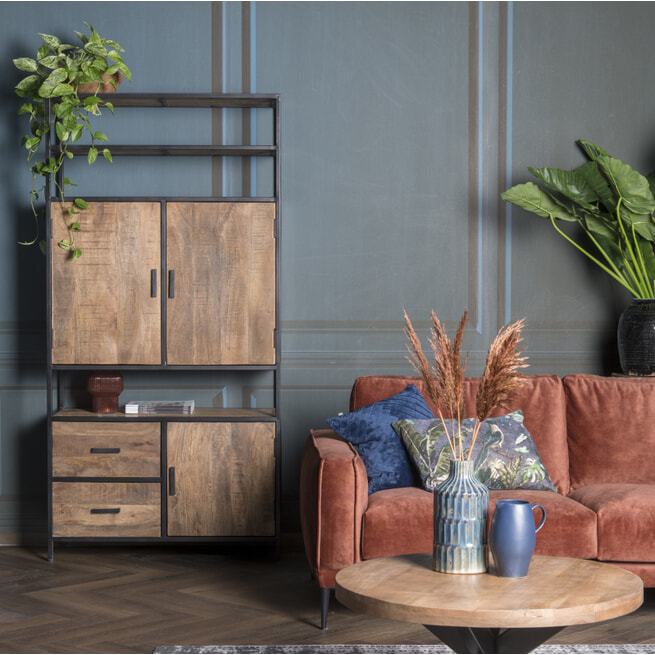 LivingFurn Opbergkast 'Sturdy' kleur Naturel, 200 x 100cm