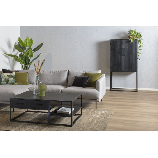 LivingFurn Opbergkast 'Kala' Mangohout en staal, 160 x 80cm