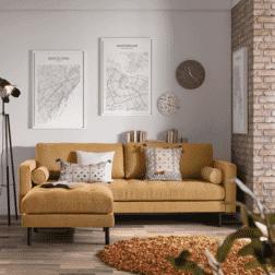 Kave Home 2-zits Bank 'Debra', kleur Mosterdgeel