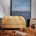 Kave Home Poef 'Debra', kleur Mosterdgeel