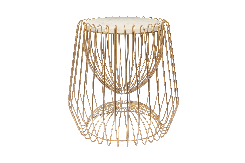 Kayoom Bijzettafel 'Malibu' Marmer en staal, kleur goud / wit