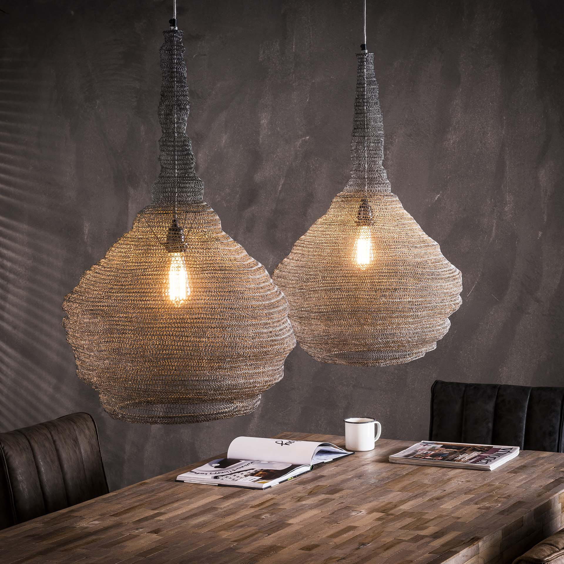 Dubbele Hanglamp 'Zachary' gaas, 2 x Ø45 cm Verlichting | Hanglampen vergelijken doe je het voordeligst hier bij Meubelpartner