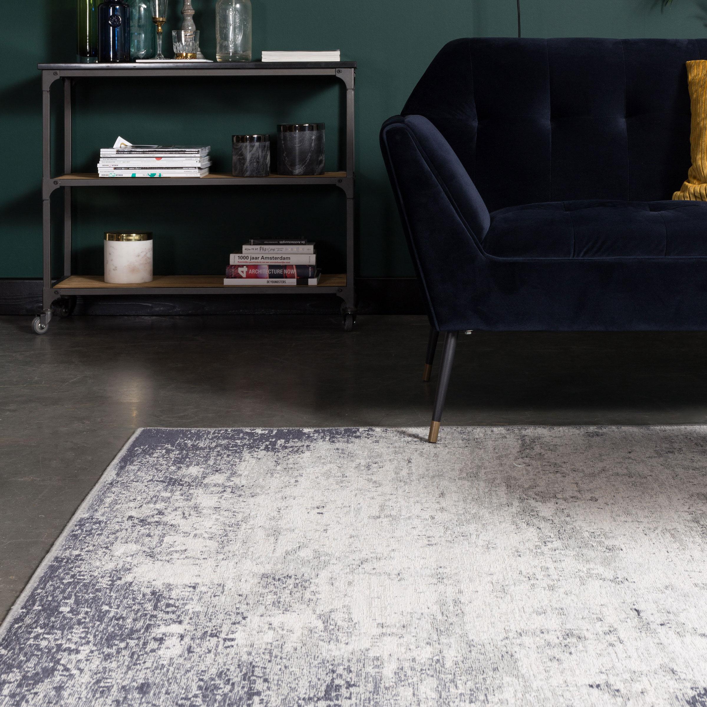 Dutchbone Vloerkleed 'Caruso' 170 x 240cm, kleur Distressed Blue