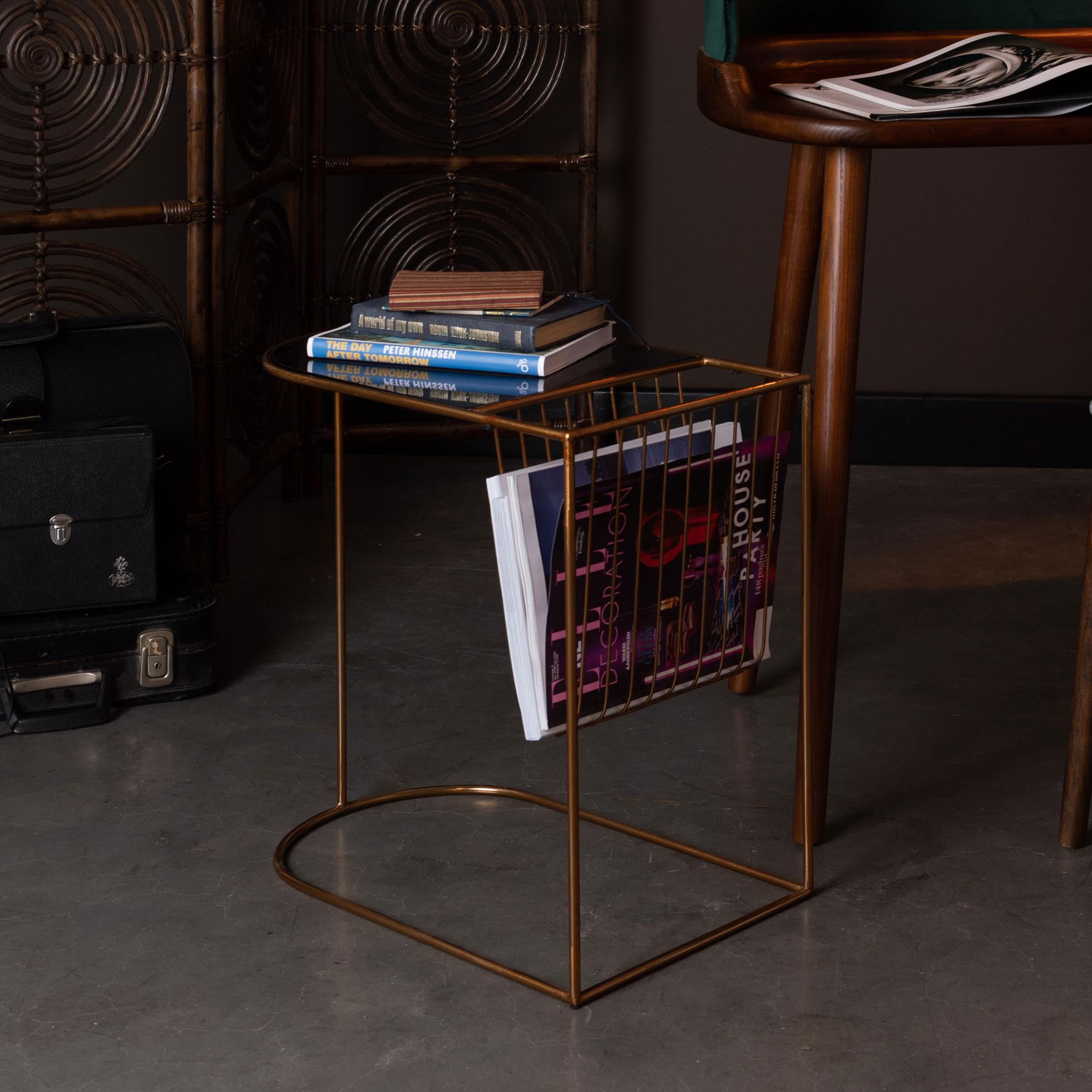 Dutchbone Eileen Bijzettafel L51xB31,5xH51 Cm Tafelblad Glas Goudkleurig Onderstel online kopen