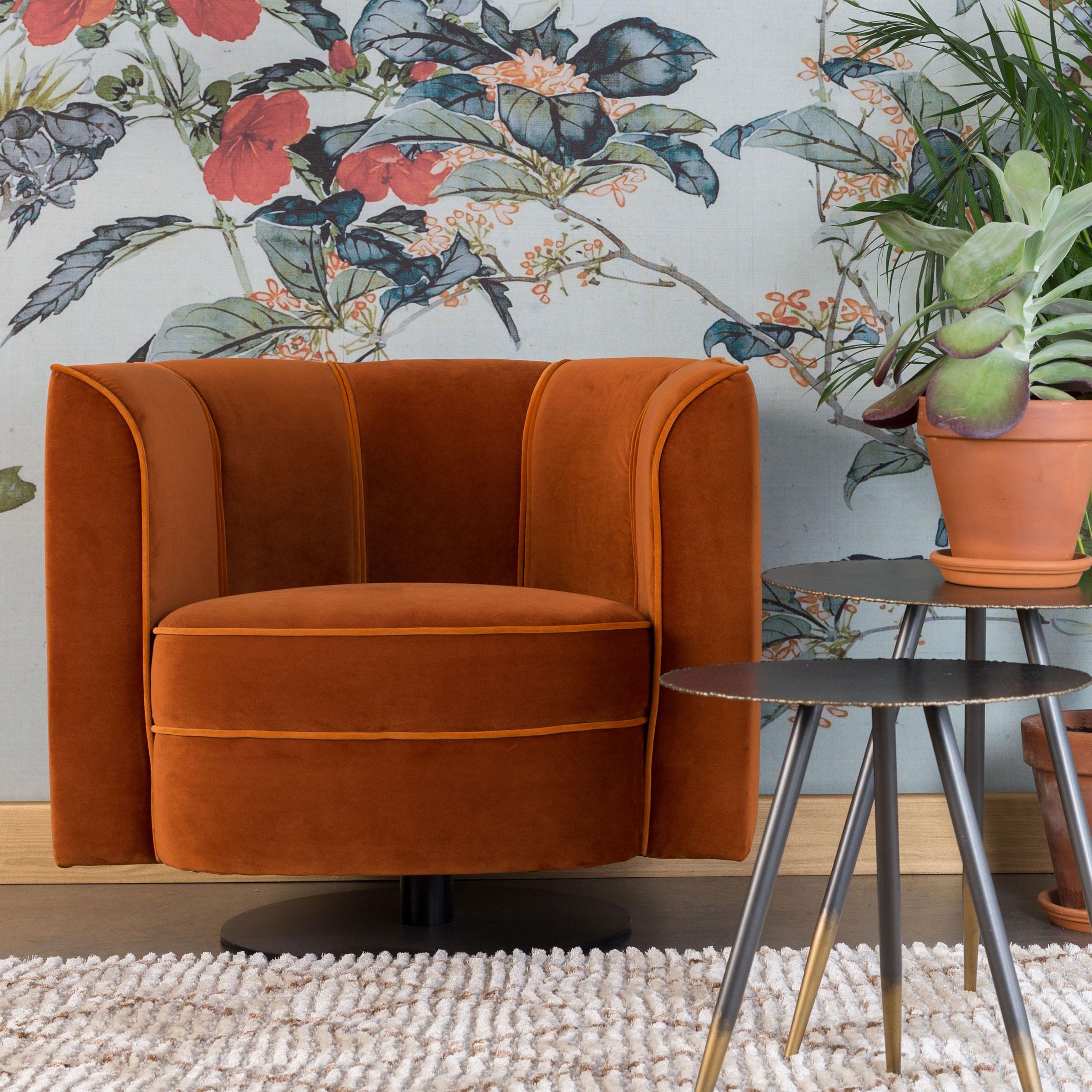 Dutchbone Flower Draaibare Fauteuil Oranje Fluweel Zwart Metalen Draaivoet online kopen